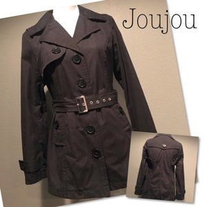 Jou Jou Lightweight Black Spring Peacoat w/Belt